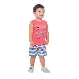 Baby Boy Outfit Graphic Tank Top and Shorts Summer Set Pulla Bulla 3-9 Months