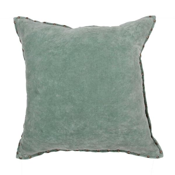 "22"" Solid Sage Green and Brass Studded Rectangular Decorative Throw Pillow"