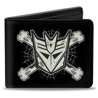 Decepticon & Cross Bones Black Gray Bi Fold Wallet - One Size Fits most