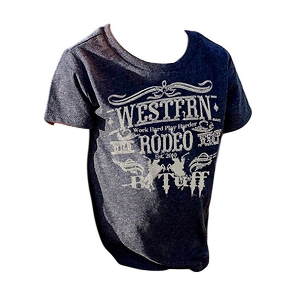 B. Tuff Western Shirt Boys Short Sleeve Tee Crew Rodeo Navy