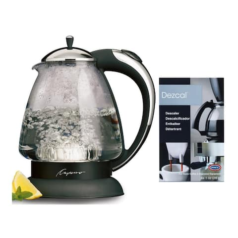 "Capresso H2O Plus Water Kettle (Chrome) and Espresso Powder Bundle - 8.25"" x 6.5"" x 10"""
