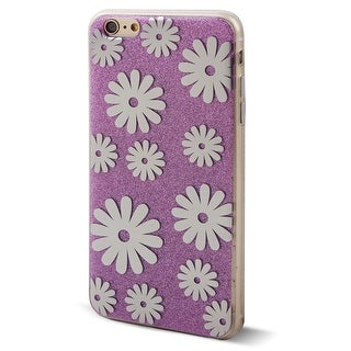 Cell Phone Floral Pattern Back Glitter Case Cover Purple for iphone 6 Plus