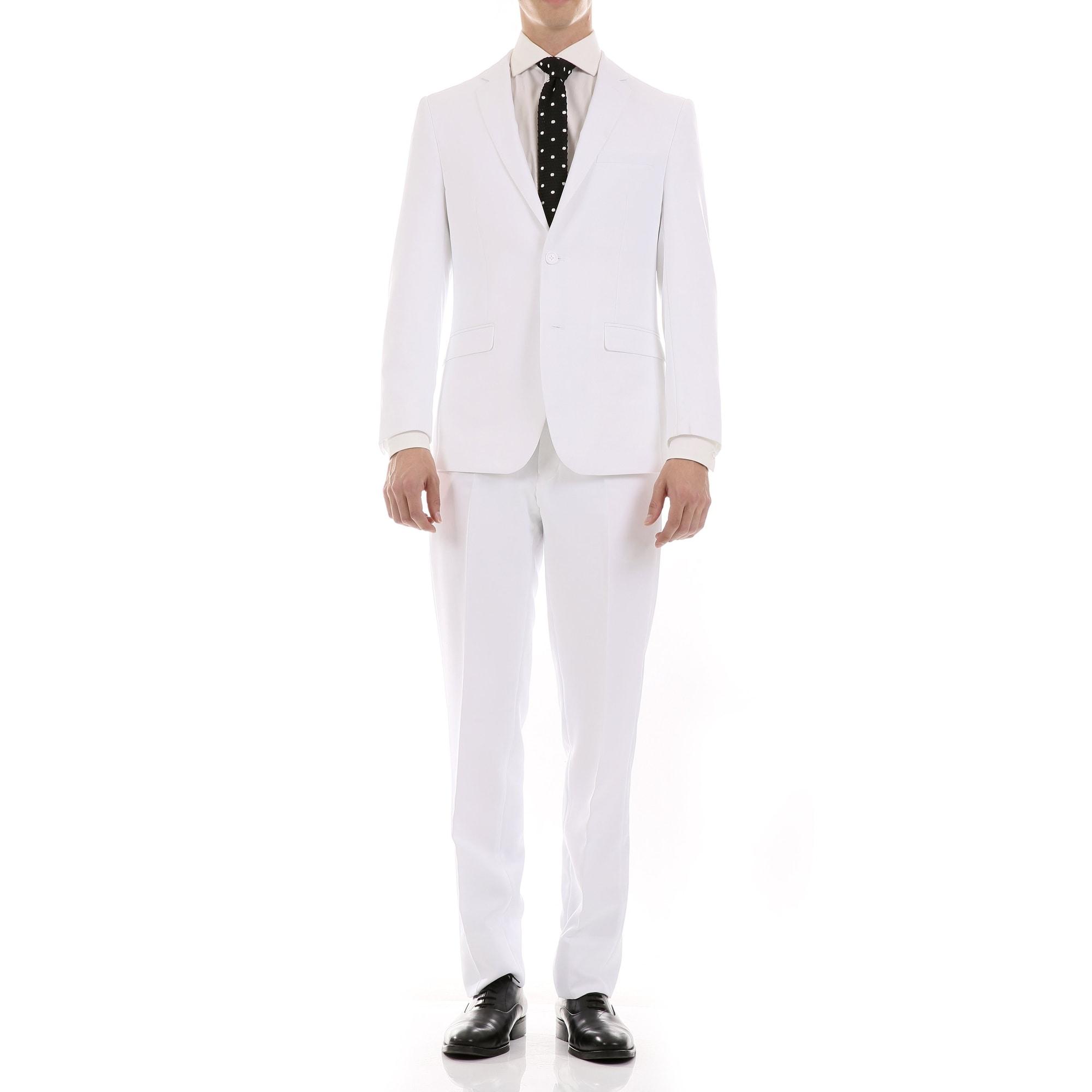 Ferrecci Mens Oslo Slim Fit Notch Lapel 2 Piece Suit with Matching Flat-Front Dress Pants