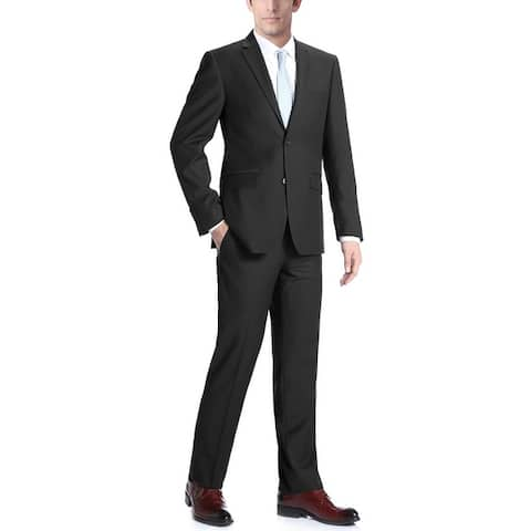Men's 2-Piece Classic Fit Two Button Notch Lapel Solid Wool Suit