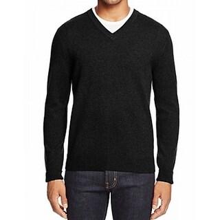 Designer NEW Solid Black Mens Size Large L V-Neck Cashmere Sweater
