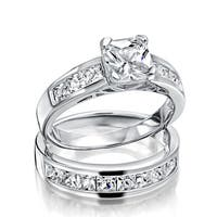 Bling Jewelry 925 Silver 2ct Princess Cut CZ Engagement Wedding Ring Set