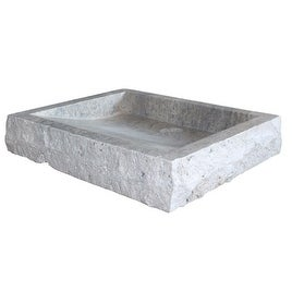 Chiseled Rectangular Natural Stone Vessel Sink - Antico Travertine