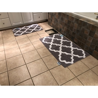 Windsor Home 100 Percent Cotton 2 Piece Trellis Bath Rug Set