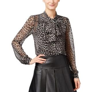 MICHAEL Michael Kors Womens Casual Top Sheer Animal Print