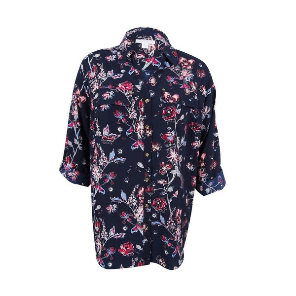 9ab0d63d5afe Shop Charter Club Women's Plus Size Floral-Print Shirt (3X, Deepest Navy  Combo) - deepest navy combo - 3x - Free Shipping On Orders Over $45 -  Overstock - ...