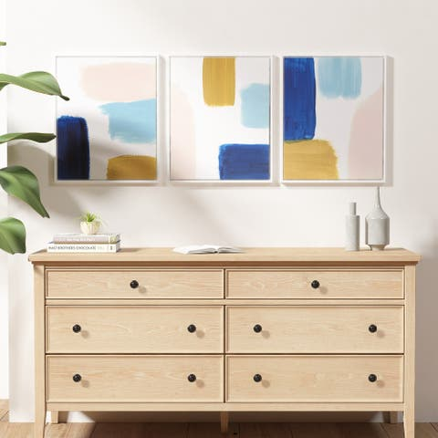 Wandering Strokes Abstract Framed Canvas 3 Piece Set by Urban Habitat