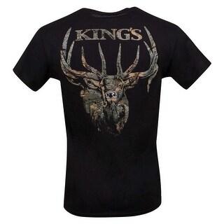 King's Camo Elk Bugle Camo Mens Short Sleeve Black Tee Shirt