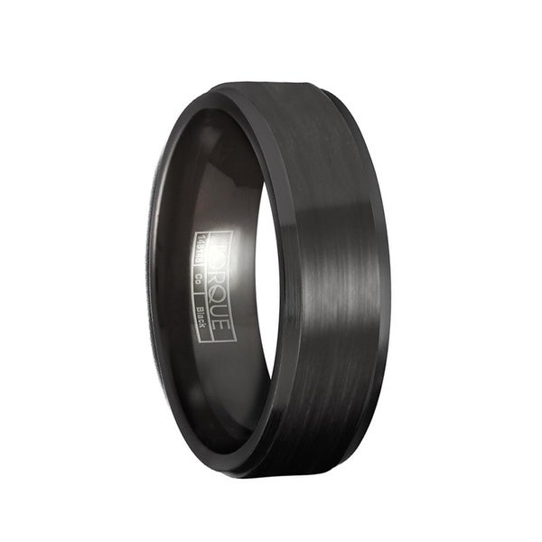 PAYNE Torque Black Cobalt Wedding Band Raised Brushed Center with Beveled Edges by Crown Ring - 7 mm
