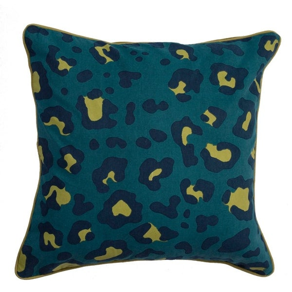 "20"" Yellow Spilt Pea Navy Blue and Blue-Green Leopard Animal Print Decorative Throw Pillow"