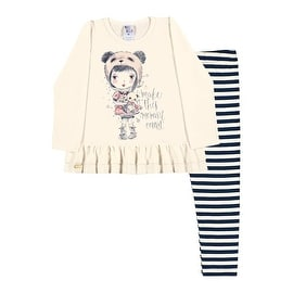 Toddler Girl Outfit Long Sleeve Shirt and Striped Leggings Pulla Bulla 1-3 Years