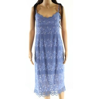 NSR NEW Blue Womens Size Small S Floral-Lace Embroidered Sheath Dress