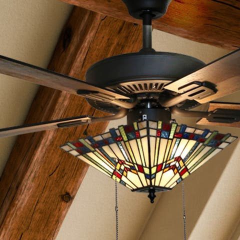 """Copper Grove Sungurlare Bronze Metal/Stained Glass 5-blade 52-inch Craftsman Ceiling Fan - 52""""L x 52""""W x 20""""H"""