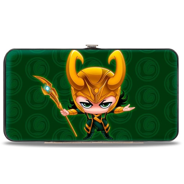 Marvel Avengers Chibi Thor Pose + Loki Logo Greens Gold Hinged Wallet - One Size Fits most