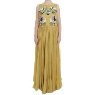Dolce & Gabbana Yellow Silk Crystal Applique Shift Dress - it46-xl