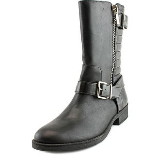 INC International Concepts Blayre Women  Round Toe Leather Black Mid Calf Boot