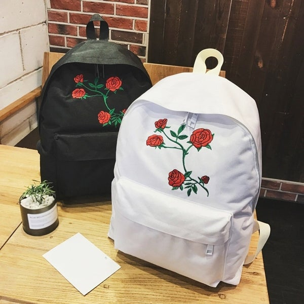 1819e9e1c Travel Students Canvas Double Shoulder Bag Women Rose Flower Embroidery  Backpack