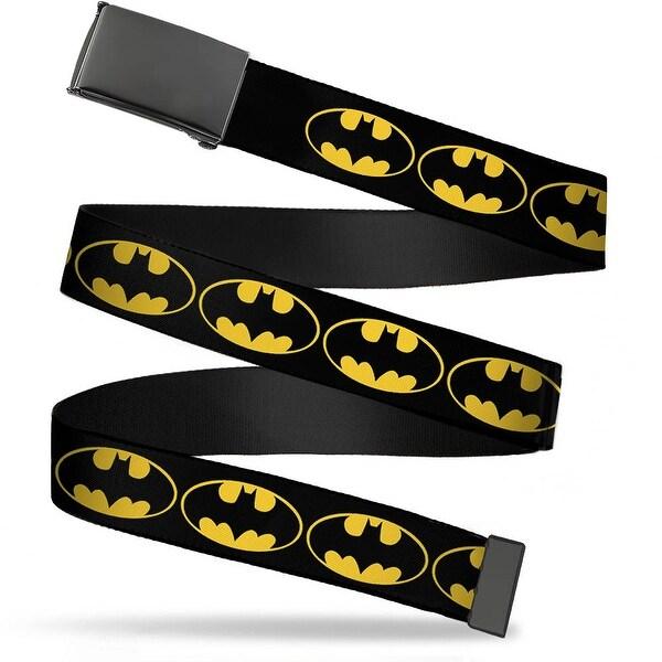 "Blank Black 1.25"" Buckle Bat Signal 2 Black Yellow Black Webbing Web Belt 1.25"" Wide - M"