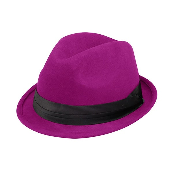 495b769420a06e Shop Ladies Wool Felt Fedora Hat - Fuchsia - Free Shipping On Orders Over  $45 - Overstock - 16947768