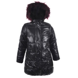 Urban Republic Little Girls Black Wine Faux Fur Trim Hooded Puffer Coat