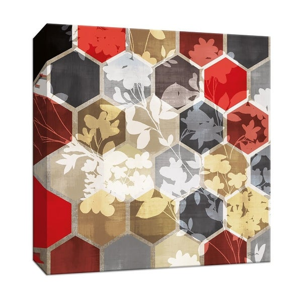 "PTM Images 9-146969 PTM Canvas Collection 12"" x 12"" - ""Golden Prism with Red III"" Giclee Flowers Art Print on Canvas"