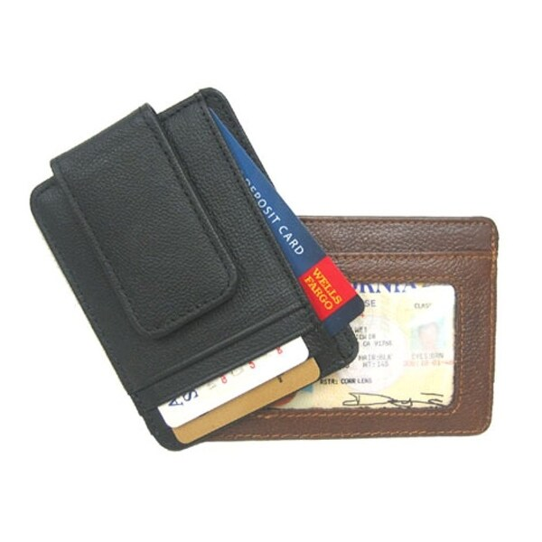 Improving Lifestyles Leather Money Clip with Magnet Black RLIL910EBK