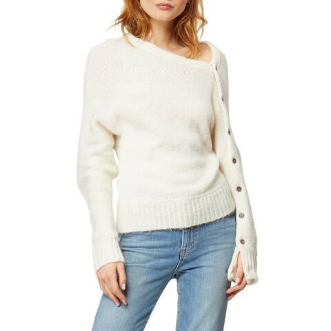 Habitual Womens Sweater White Size Large L Braylen Asymmetrical Neck