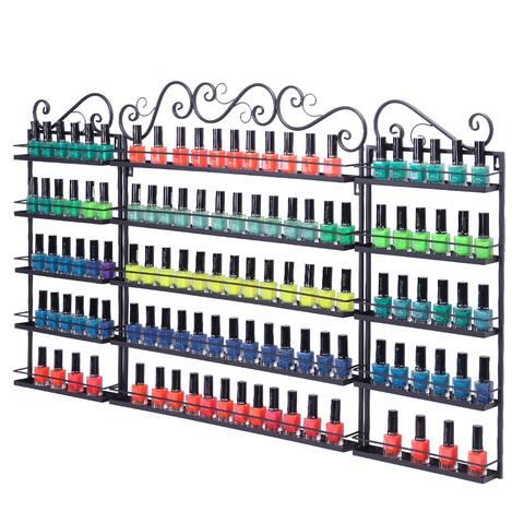 5 Tier Metal Nail Polish Display Organizer Wall Rack Holder - Black