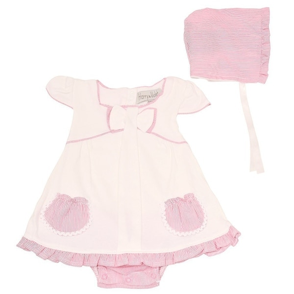 Harry & Violet Baby Girls Ivory Pink Ruffle Dress Bodysuit Hat 2 Pc Set