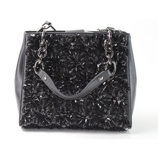 Michael Kors NEW Black Leather Small Floral Burst Satchel Purse