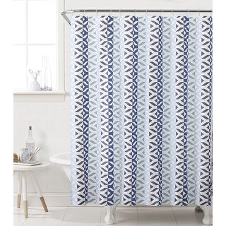Sheena 13-Piece Geometric PEVA Shower Curtain With Hooks, Navy-Blue, 72x72 Inches