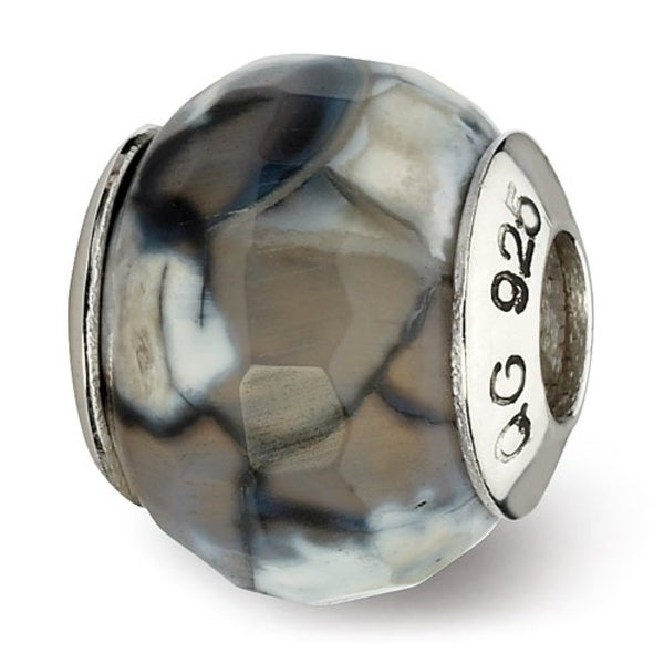 Sterling Silver Reflections Grey Cracked Agate with Shell Stone Bead (4mm Diameter Hole)