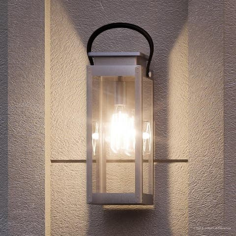 "Luxury Modern Farmhouse Outdoor Wall Light, 19.375""H x 7.875""W, with Nautical Style, Stainless Steel Finish by Urban Ambiance"
