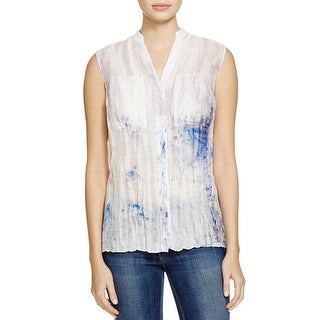 Elie Tahari Womens Enya Blouse Sheer Printed