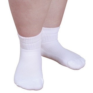 Unisex Adult CareSox Supreme Quarter Crew Bariatric Socks - White