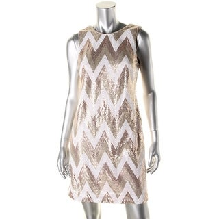 Vince Camuto Womens Sequined Chevron Cocktail Dress