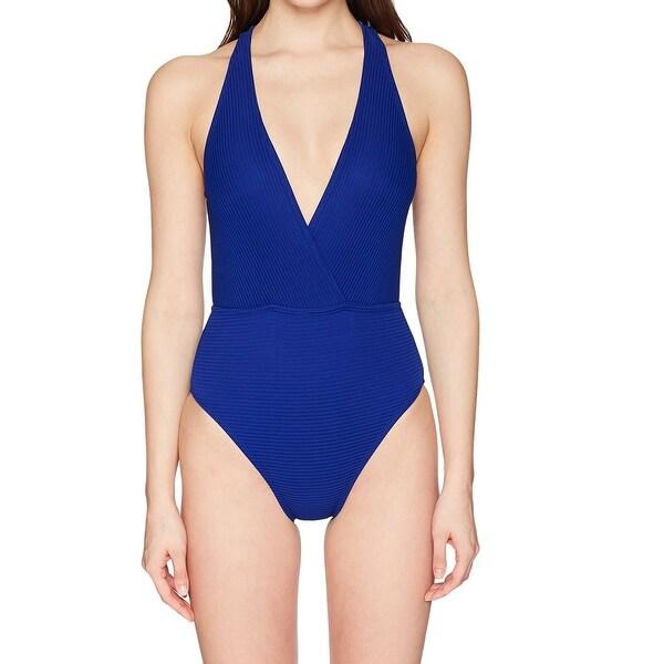 8bb5967e111ba Shop La Blanca Blue Women's Size 4 Ribbed V-Neck One-Piece Swim ...
