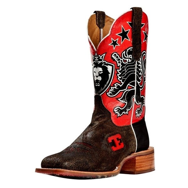 Cinch Western Boots Mens Edge Cowboy Leon Square Toe Black Red