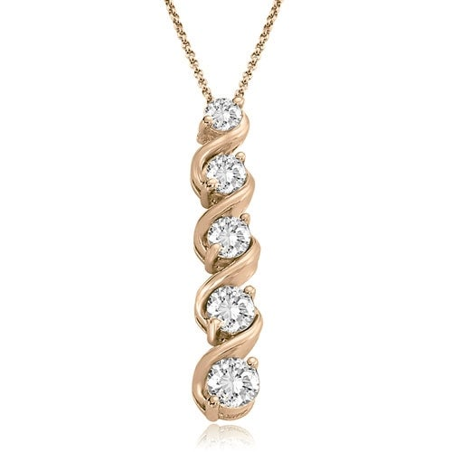 1.00 cttw. 14K Rose Gold Round Cut Diamond Five-Stone Swirl Journey Pendant