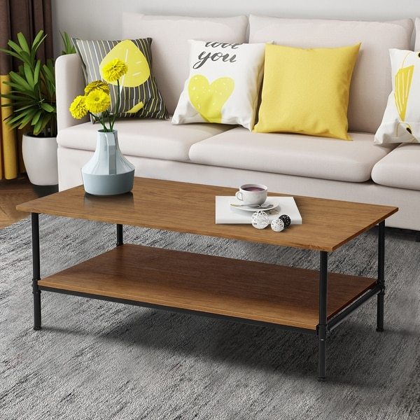 Gymax Rectangle Coffee Table Metal Frame Accent Cocktail Table with Storage Shelf