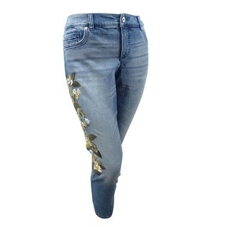 INC International Concepts Women's Plus Size Embroidered Skinny Jeans - Indigo