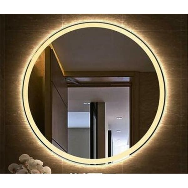 20 Inch Round Adjustment Touch Led Bathroom Mirror Tricolor Dimming Overstock 32106779