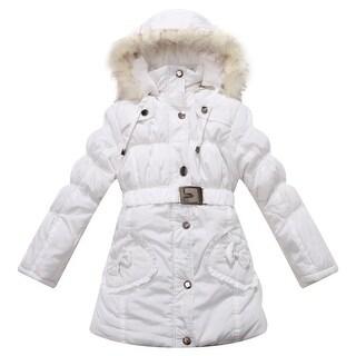 Richie House Little Girls Snow Padded Belt Faux Hood Winter Jacket 4-7