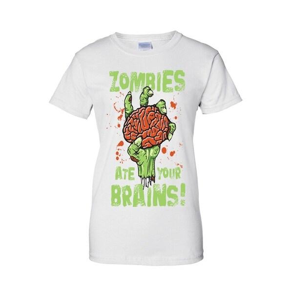 Women's Juniors T-Shirt Zombies Ate Your Brains! Undead Living Dead Walkers Tee
