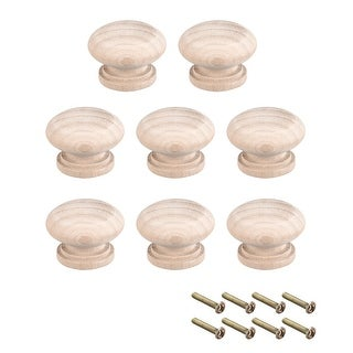 Cabinet Round Pull Knobs 34mm Dia Furniture Kitchen Drawer Wood 8pcs - 34mmx25mm(D*H)-8pcs