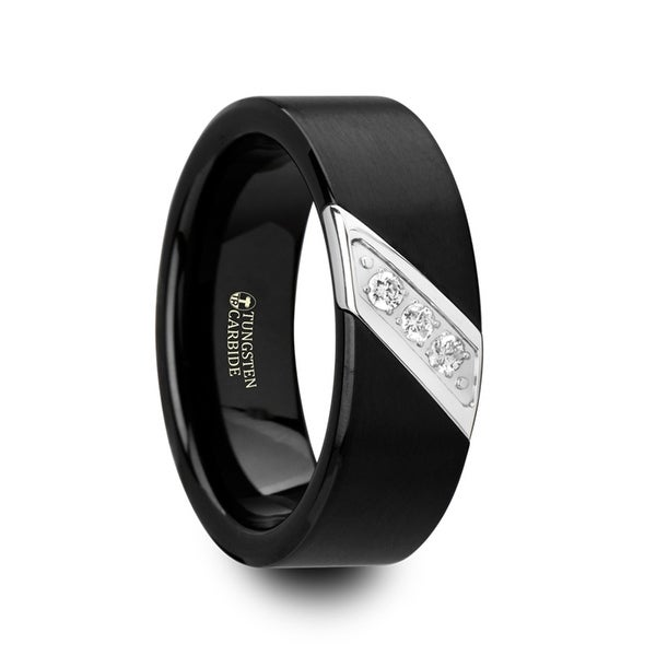 LIAM Flat Black Satin Finished Tungsten Carbide Wedding Band with Diagonal Diamonds Set in Stainless Steel